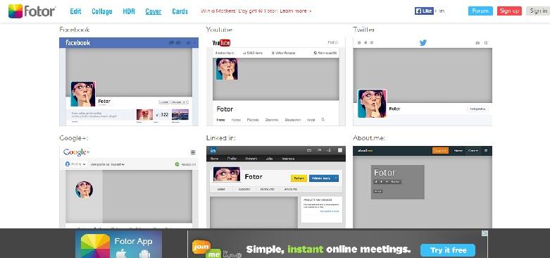 fotor.com for social media headers