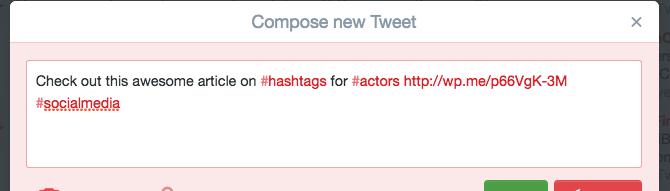 where to put a hashtag