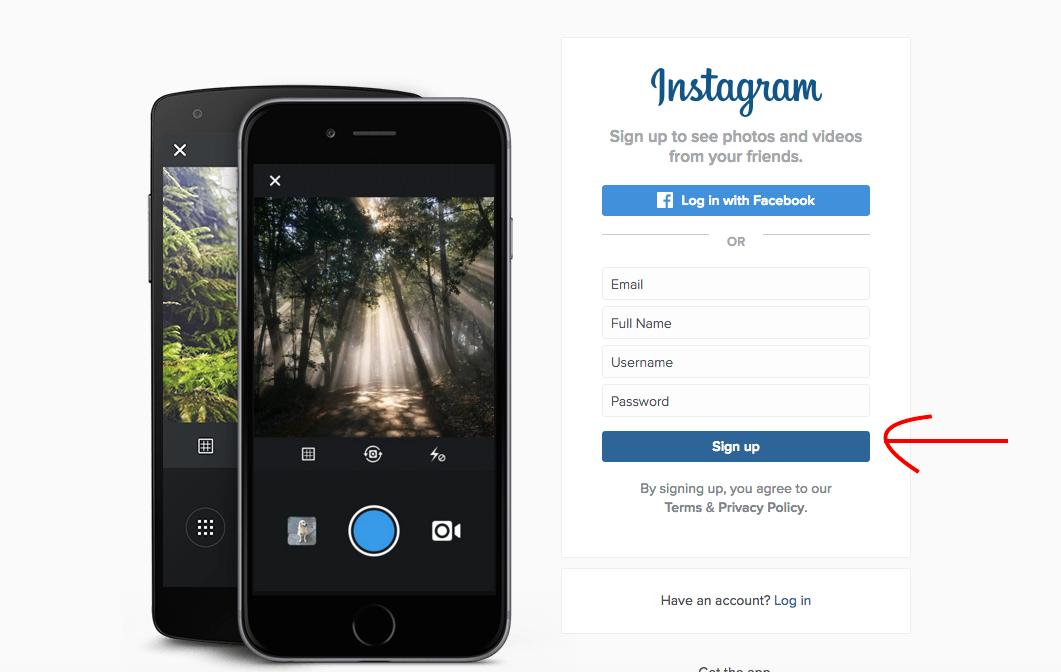 Sign up for instagram on desktop