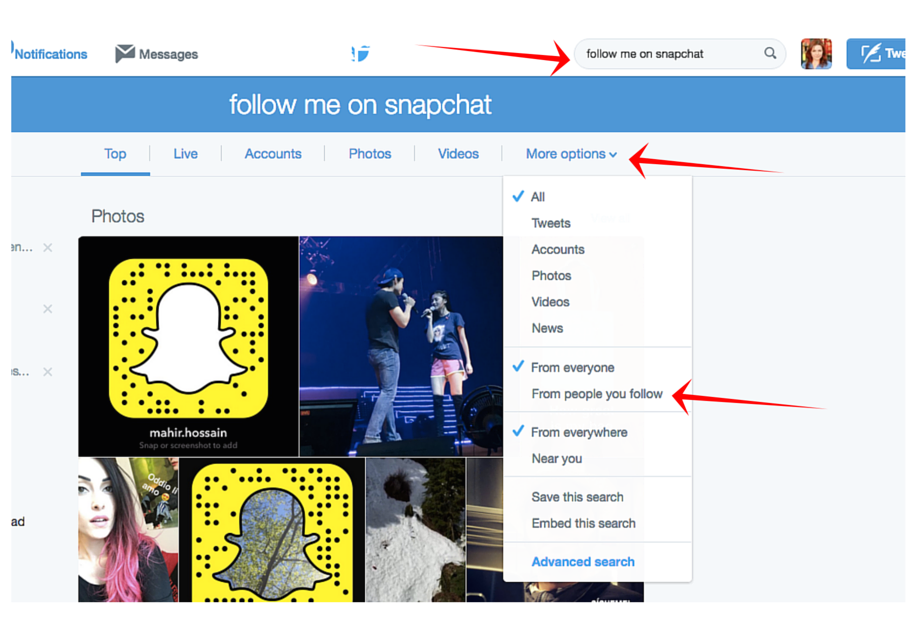 find twitter followers on snapchat